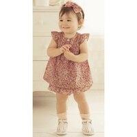 прекрасный печать детская одежда / 2 шт. комплект : цветочный платье + плиссированные нижнее белье / девушка костюм в новинка