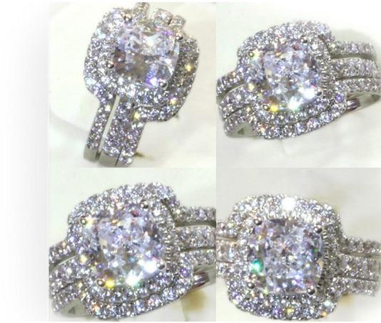 bridal set sterling silver 3 carat g h vvs1 cushion princess cut - 3 Carat Wedding Ring