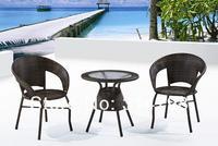 на открытом воздухе стол и стул из ротанга с ПЭ стальная рама, меры стол 80 х 80 х 79.5 см