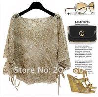 Shaman золотой диск цветы вышивка крючком шнурок пла давай мыши блузка футболка, дамы блузки, женские блузки женская одежды