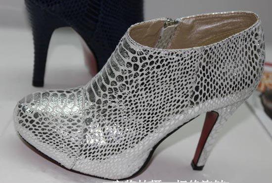 женщин сексуальное змеиной платье туфли с высокий каблук крокодилы полосы туфли / ботильоны серебро блесток змея туфли полный размер