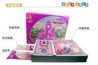 пластик принцесса мультфильм дома-замки модели поделки игрушки для девочек детей в slef строительные блоки - самоконтрящаяся кирпичи