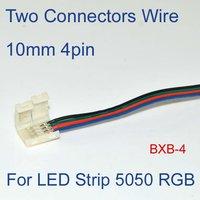 10 шт./лот 10 мм 4 контакт. два разъема с проводом для из светодиодов полосы 5050 СМД RGB, то нет необходимости пайки бесплатная доставка [ bxb по-4