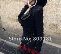 бесплатная доставка косой молнией женщина короткие куртки тонкий локомотив кожаное пальто