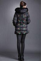 женская парки снег fshionable стильный толщиной верхней одежды черный большой s-XXXL осенняя теплый ореховых пальто винтаж элегантный вышивка 8823