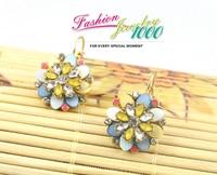 нежный хрустальный цветок раковины небольшие серьги стиль звезд женщины золотое покрытие ювелирных изделий цепи бесплатная доставка