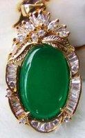 красивая инкрустация зеленый нефрит кулон большой ожерелье