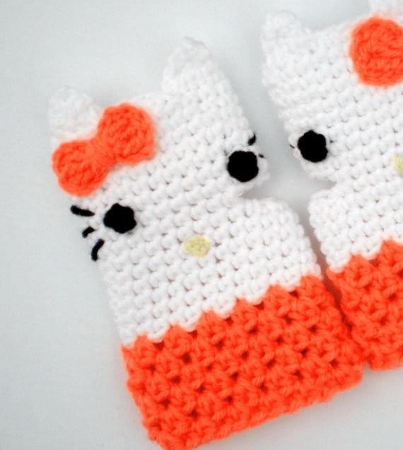 Caliente venta guantes sin dedos, ganchillo, hello kitty mitones ...