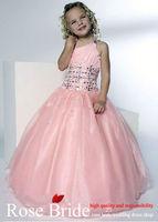 завод оптовая продажа бисером длиной до пола, бальное платье розовый одно плечо детские платья / ну вечеринку платье / на заказ