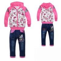 бесплатная доставка новые прибытия привет котенок розовый девушки установить детская одежда устанавливает худи пальто + джинсы девушки комплектов одежды комплект