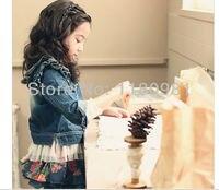 девушки одежда весна и осень бабочка рукавом марли джинс верхняя одежда кардиган цветочный принт короткий период - длина юбка