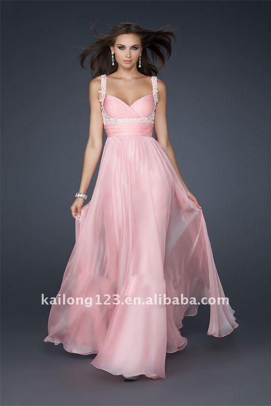 pink chiffon dress shoulder straps