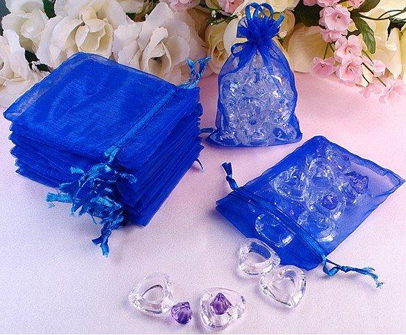 100pcs Royal Blue Organza Wedding Sweet Candy Bag 7 9cm