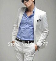 приталенный один - пуговица меч воротник корейский костюм комплект куртка + брюки размер М-XXXL белый
