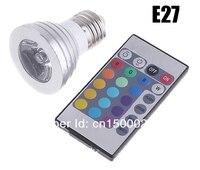 10 шт./лот 3 вт из светодиодов пятно света 16 изменение цвета RGB с Е14 / Е27 / Лампа GU10 напряжение тока ac85 ~ 265 в из светодиодов лампочка с дистанционным управлением