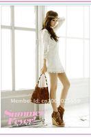 корея женские ажурной 3/4 рукавом twinset с ками хип - длина мини кружевное платье # a05098