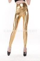 Seal женщин яркий цвет кожи обвинение с высокой Tale стрейч мода леггинсы золото серебро черный красный a272