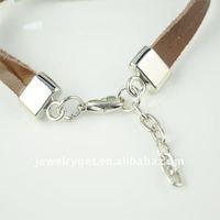 мужчины ювелирные изделия коричневый натуральная кожа браслет из нержавеющей стали пряжка очаровывает браслет для женщин, бр-1234