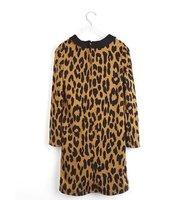 платье джерси прослеживается стоит питер полиэтилена свободного покроя, зима весна Leopard печати 3/4 рукава длиной до Колин без тара старинные платья