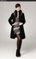 зима темперамент высокое качество женщин элегантный стиль кашемировые пальто с голубой песец меховой воротник