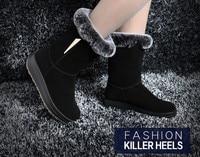 топ мода специальное предложение средней длины стадо из натуральной сплошной ботинки зима женская платформа на высоком каблуке снегоступы подлинная 5097