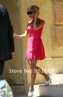 новое постулат автодиафрагмой крест красное платье Cap повязку Elegant наедине дизайн мини-пром платья платья
