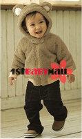 1-й ребенок центр ] пальто зима / осень, дети хлопок ватки верхнюю одежду, розовый / белый / кофе животных наряды, детская одежда 3 шт. м-БК-001