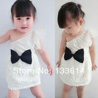 белый детские девушки бант одно плечо платье принцессы кружева короткие мини-платья