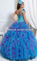 сексуальная синий органзы бисероплетение одно плечо платья пышное