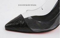 мода дамская высокий каблук прозрачные туфли искусственная кожа острым носом высокой пятки сандалии черный бесплатная доставка