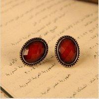 мода горячие продажи новый стиль ретро благородный женщины красочные камень сплава серьги-гвоздики e49