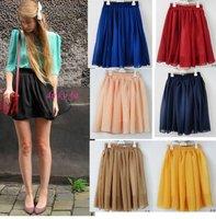 синий / желтый / красный / розовый большой размер пляж сексуальный гофрирование юбки юбки мини-юбки женщин xha022