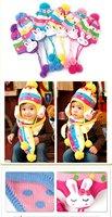 милый и теплый дети радуга шляпа, кролик уха защитный колпачок, шерстяная шапочка, бесплатная доставка