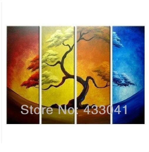 Hand Painted 4 Piece Set Pine Tree Four Seasons Moon Oil Paintings ...