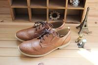 бренд винтажный башмаки оригинальные оксфорды женщины в лежа обувь полиуретан кожа крыло кончик обувной коричневый