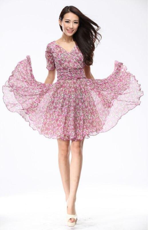2013 New Spring Summer Women's Dresses Rose Floral Dress For Women ...