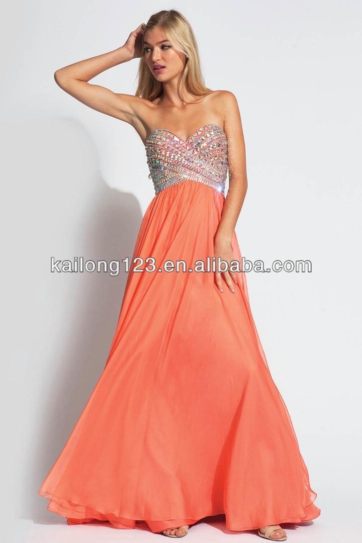 sweetheart chiffon empire beading floor length coral prom dress
