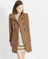 оптовая продажа, мода новый женский шерстяной плащ с с длинным рукавом двубортный, теплый женское верхняя одежда пальто 550