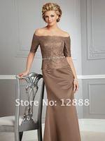 бесплатная доставка атласа мать невесты платье рукава с плеча