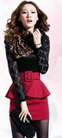 8644 # корейский темперамент с длинными рукавами кружево шить оборками сумка-хип платье