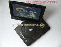 100% лучшие подарки 9.8 дюймов портативная 3д ДВД плееры с ФМ-радио аналоговый телевизор компакт-диск игры с английский французский испанский