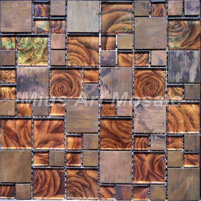 Copper Mosaic Mixed Gold Foil Glass Tile For Kitchen Backsplash