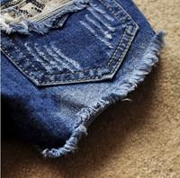 бесплатная доставка женщин личность круто короткие брюки весна лето мода отверстие джинсы шорты высокое качество