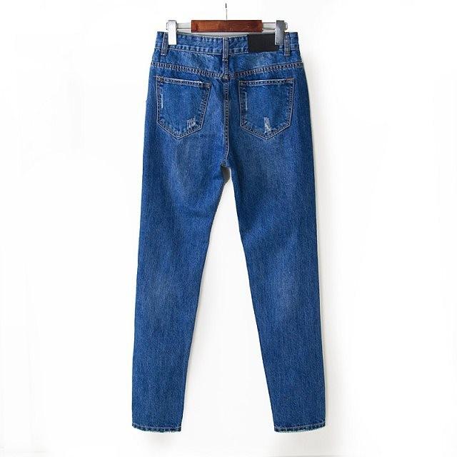 женская топы весна и осень джинс мыть отбеленными разорвал царапины хлопка высокой талией джинсы