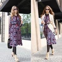 новый женская зима платье из бутика геометрический принт с длинным рукавом свободного покроя платье-туника fxhf2201