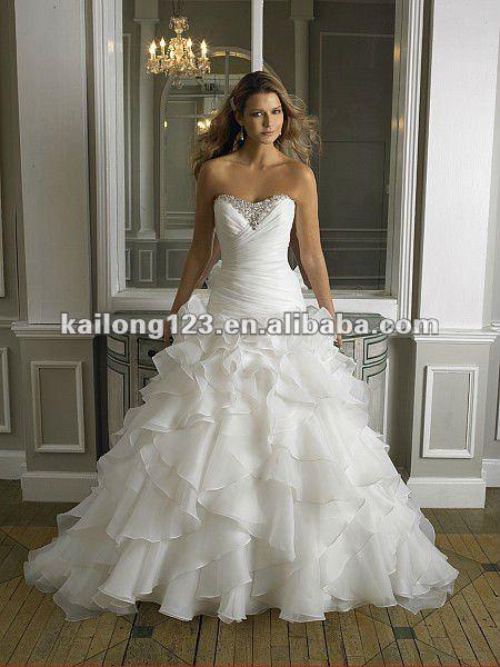 Elaborate Sweetheart Drop Waist A Line Sweep Train Beaded Pearls Ruched Ruffled Organza Wedding Dresses