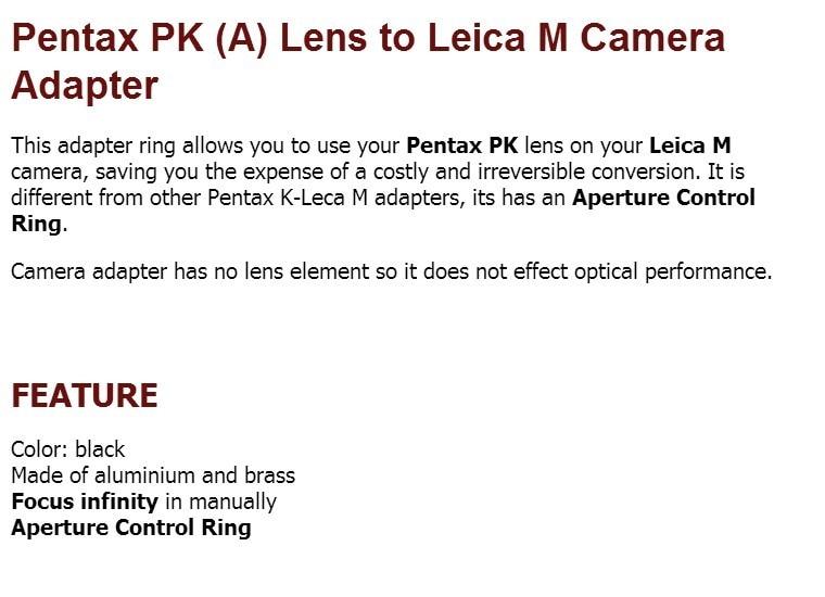Abertura ajuste anel para Pentax K Mount