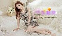 сексуальное нижнее белье женские леопардовым принтом рукавов о-образным шеи пижамы короткое платье + стринги стринги ночной рубашке бесплатная доставка