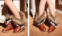 новинка осень и зима высокие сапоги лисий мех кролика снег кожаные сапоги кисточкой женские туфли