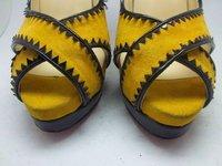 бесплатные доставки мода крест лимон замши с открытым носком туфли высокое качество